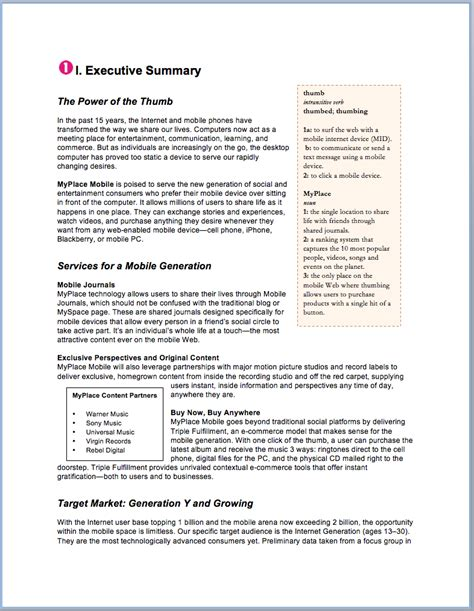 winning business plan format best photos of sle business plan pdf sle business