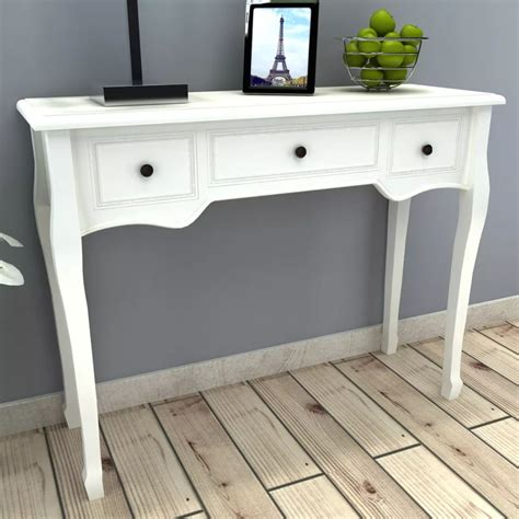 sofa table with 3 drawers vidaxl co uk white dressing console table with three drawers