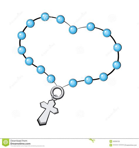 rosary with a cross icon vector object on white stock