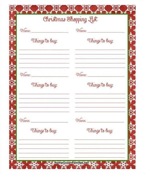 christmas list doc list template word doc zone