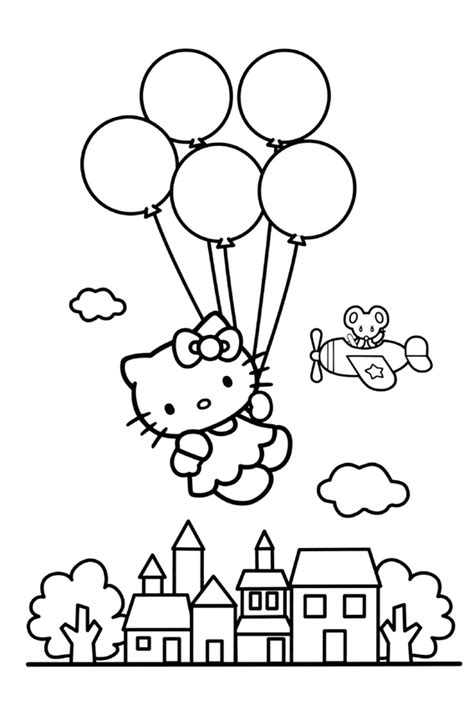 hello kitty balloons coloring pages hello kitty coloring pages overview with a lot of kitties
