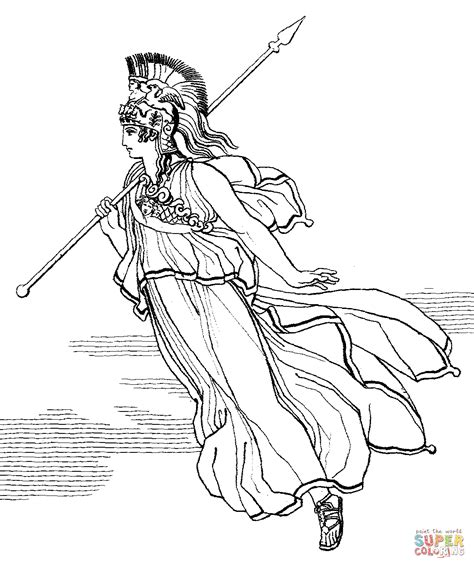 Athena Collour Black athena with spear coloring page free printable coloring