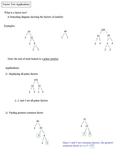 Factor Trees Worksheets by Math Plane Greatest Common Factor Gcf Least Common