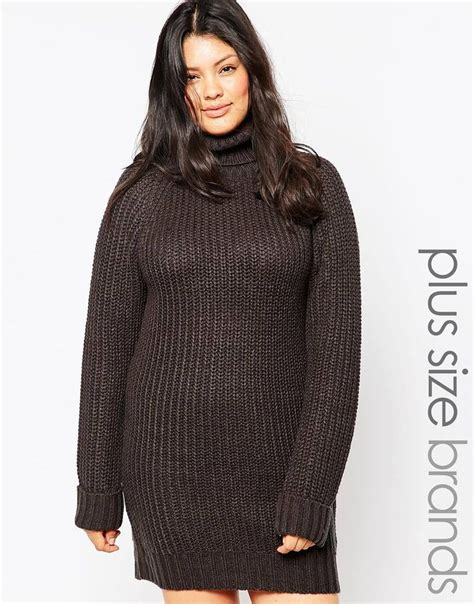 Junarose High Neck Jumper by Brave Soul Plus High Neck Jumper Dress With Sleeves