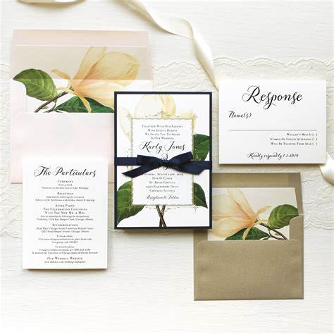 Magnolia Wedding Invitations sweet magnolia customizable modern wedding invitations