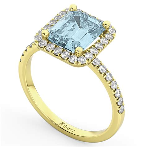 aquamarine engagement ring 14k yellow gold 3