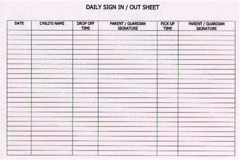 sign in and sign out sheet template free daycare sign out sheet template search results