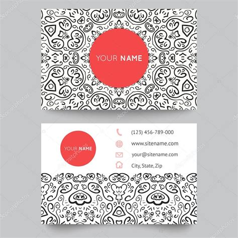 pattern design business business card template black red and white beauty