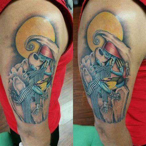 cartoon couple tattoos new school style nightmare before