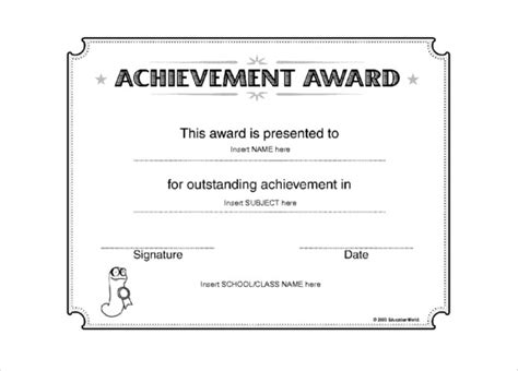 certificates of achievement templates word award templates 10 free word pdf documents