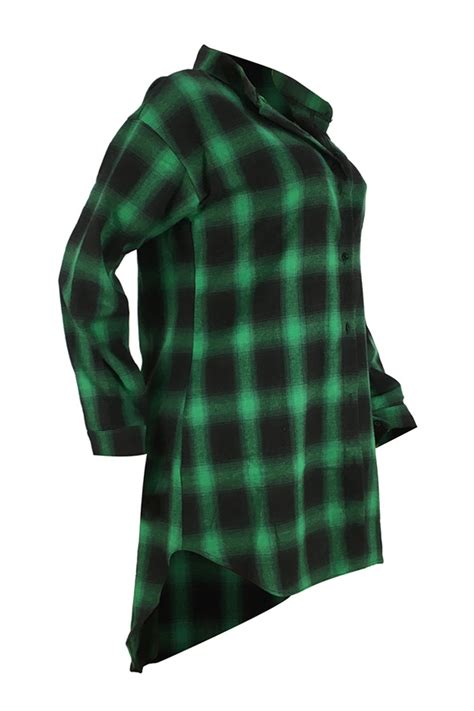 Lettering Plaid Shirt lovely casual letters printed green blending plaid t shirt