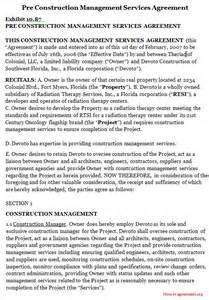 Construction Project Management Agreement Template pre construction management services agreement images frompo