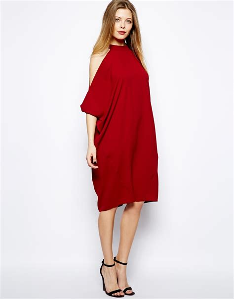 asos midi shift dress with cold shoulder and batwing