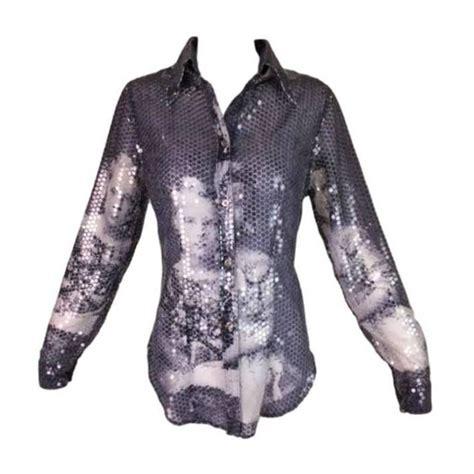 Blouse Pink Chiffon Ss Sh 04a f w 1998 mcqueen joan romanov print sequin