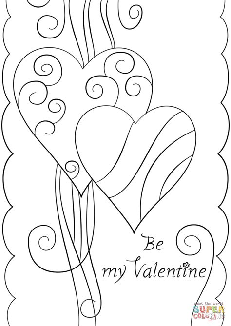 printable coloring pages valentines day cards s day card quot be my quot coloring page