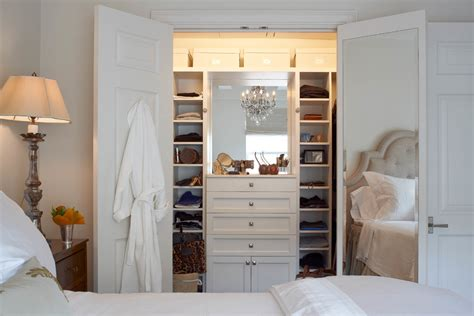 length mirror closet transitional with storage bins