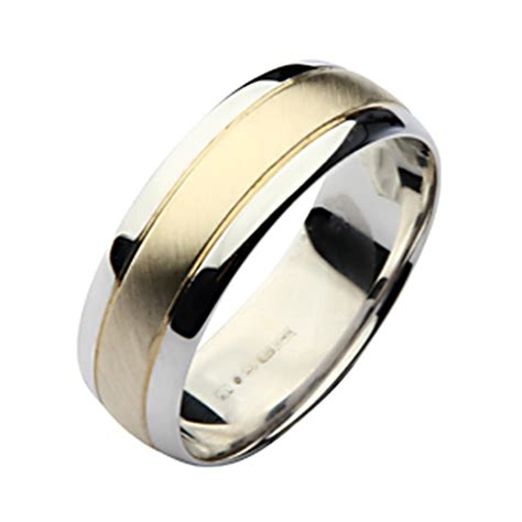 5280 Gold Black N 7mm 9ct yellow gold silver two colour wedding ring band