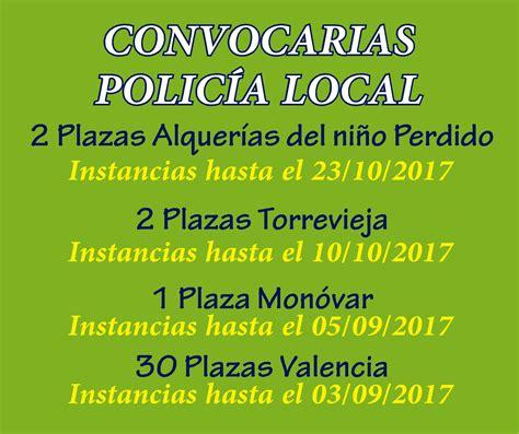 convocatorias comunidad valenciana 2016 i 2017 convocatorias polic 205 a local comunidad valenciana grupo