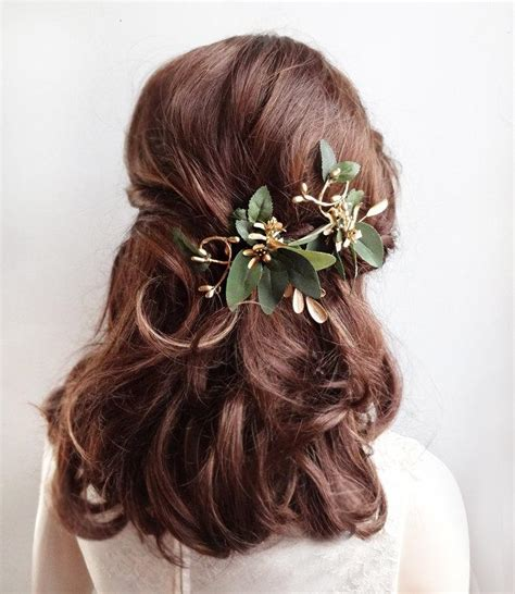 Hair Pieces Green leaf hair gold hair vine bridal headpiece bridal