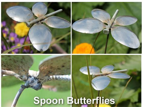 spoon butterfly garden ornament  recycled silverware