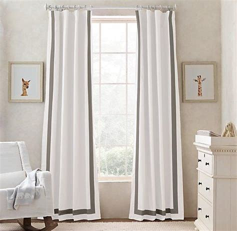 Grey And White Curtains Appliqued Frame Cotton Canvas White And Grey Drapery Panel