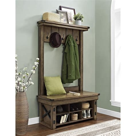 entry hall tree storage bench entryway hall tree bench shelves stabbedinback foyer