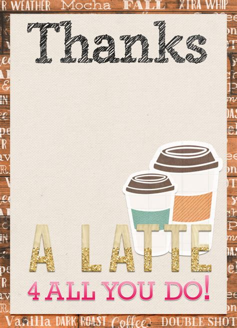 Thanks A Latte Card Template by Thanks A Latte Card Template Choice Image Template