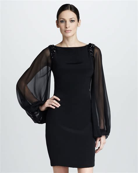 Sleeve Chiffon Dress lyst notte by marchesa cocktail dress with chiffon