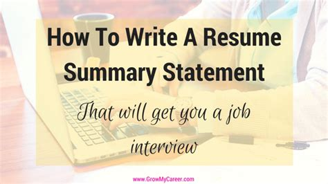 how to write a resume summary that gets interviews resume summary statement how to write a resume summary