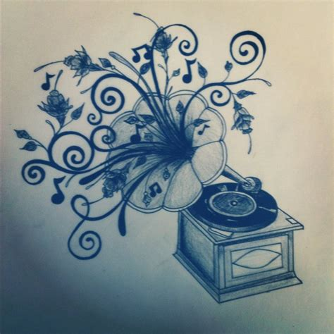 first draft of phonograph tattoo by bettyboopeyes on