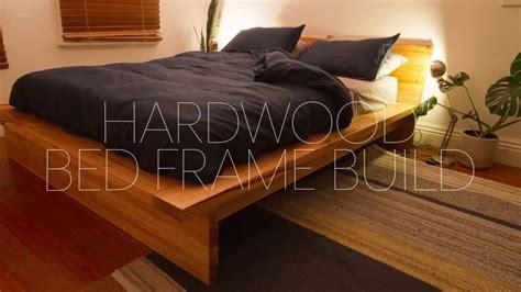 diy bed frame cheap diy hardwood bed frame build youtube