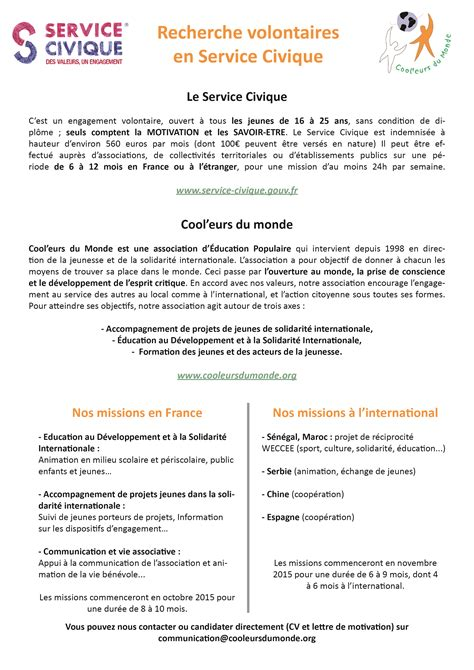 exemple lettre de motivation service civique lettre de motivation 2017