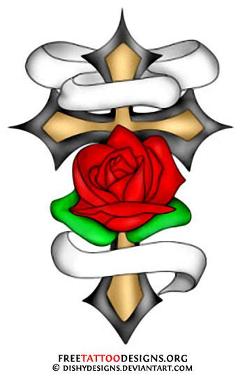 cross with rose tattoo designs designs crosses roses