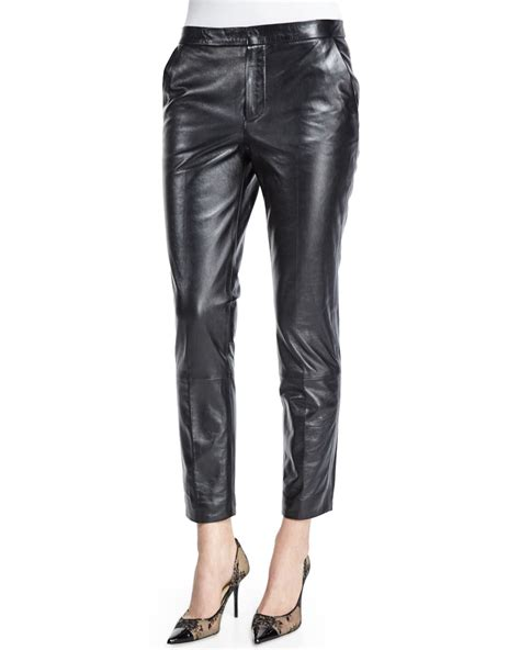 leather pants red valentino slim leather pants in black lyst