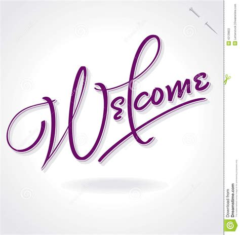 Handmade Lettering - welcome lettering vector stock vector image 42129822