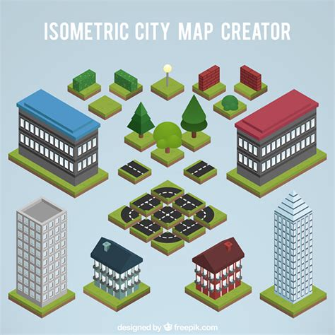create a building map elements to create a city map isometric view vector