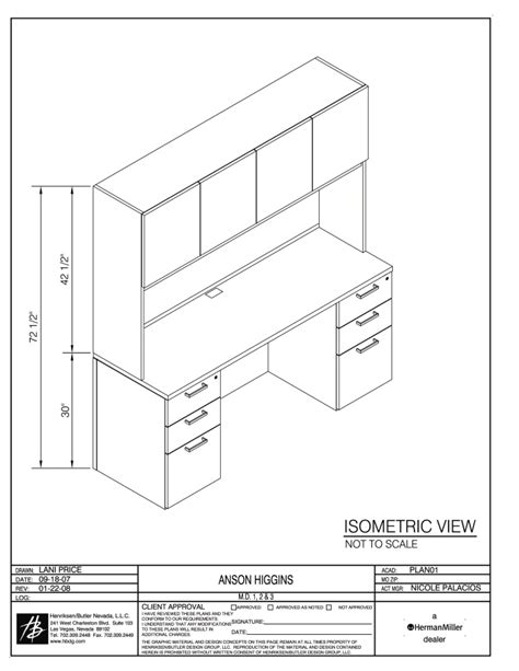Isometric Furniture Drawing by Hb Anson Higgins Plastic Surgery Office By Benoit