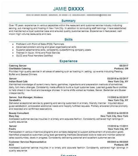Special Skills Resume Food Service by Enchanting Skills For Food Service Resume Adornment