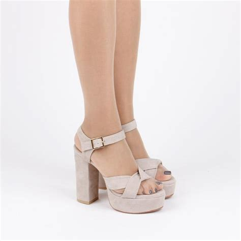new laluna suede size suede platform sandals light beige by pretty