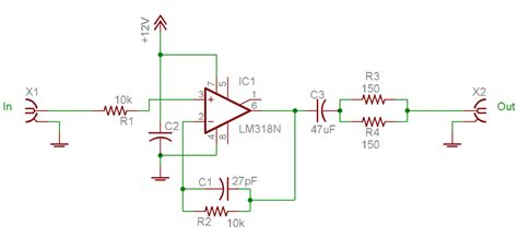 bypass capacitor in lifier circuit lm318 based lifier a1k0n net