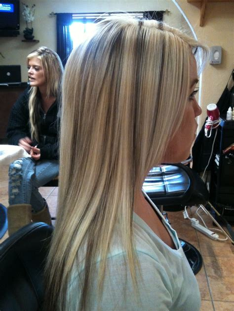 blonde hair with chunky high and low lights dark brown hairs blonde with low lights high lights low lights pinterest