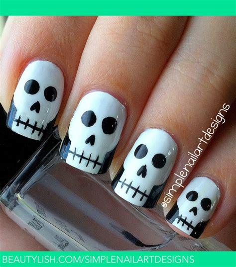 halloween nail art tutorial skulls halloween skull nails simplenailartdesigns s s