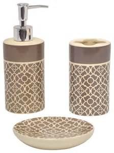 Contemporary Modern Bathroom Accessories Lovely Lattice Taupe Bath Accessory 3 Set