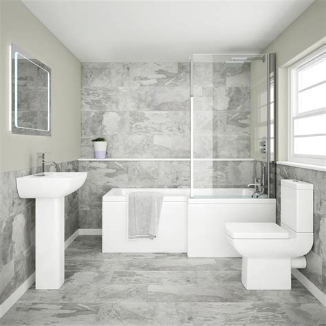 bathroom suites with shower baths edge modern shower bath suite from plumbing co uk