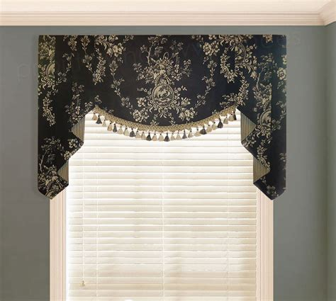 Black Kitchen Curtains And Valances Waverly Country House Toile Black Valance Valances Pwv Custom Valances Valances