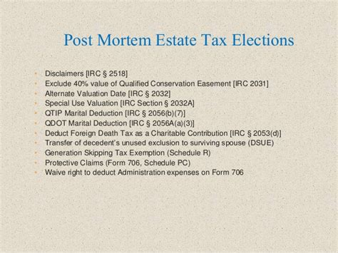 irc section 706 pre and post mortem tax planning ideas