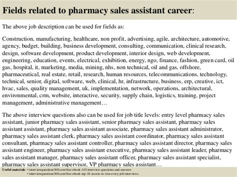 top 10 pharmacy sales assistant questions and