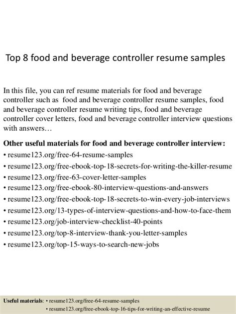 Food And Beverage Controller Sle Resume by Top 8 Food And Beverage Controller Resume Sles