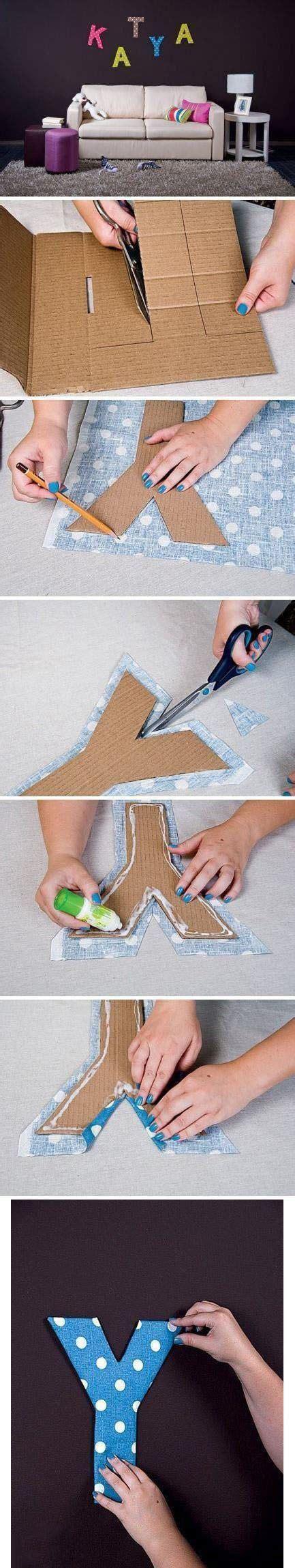 fabric and cardboard wall letters diy diy n crafts