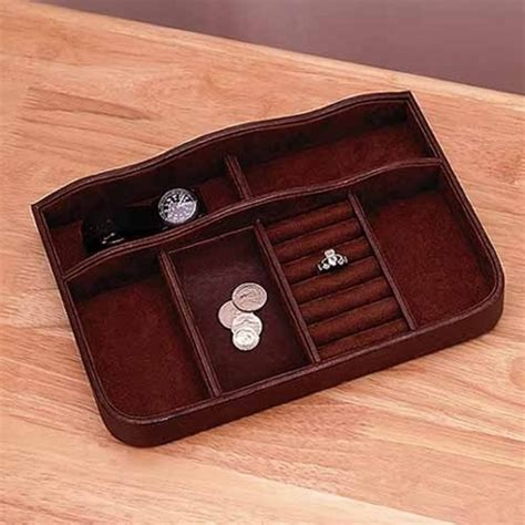 mens brown leather valet tray organizer jewelry holder